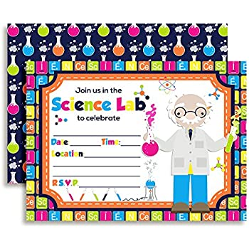 Amazon science themed birthday party fill in invitations set of science lab themed birthday party fill in invitations set of 10 with envelopes filmwisefo