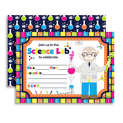 Amanda Creation Science Lab Themed Birthday Party Fill in Invitations Set of 20 with envelopes -