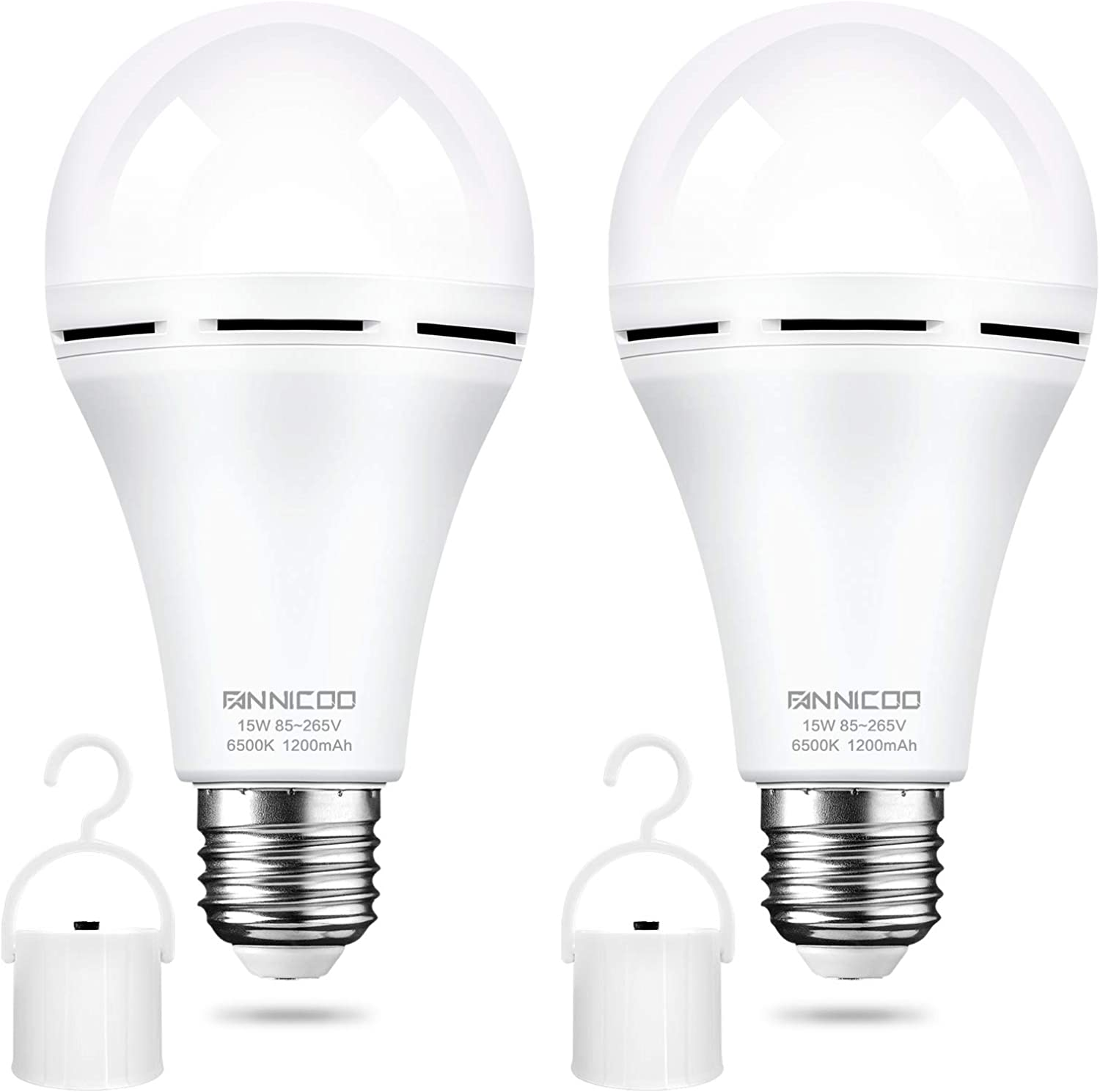 Rechargeable Emergency Light Bulb(2 Pack) Daylight 6500K LED Battery Backup for Power Outage Failure 15W 80W Equivalent 1200mAh with Hook E26/27 Base Light Bulbs Widely Used in Home Camp Hiking