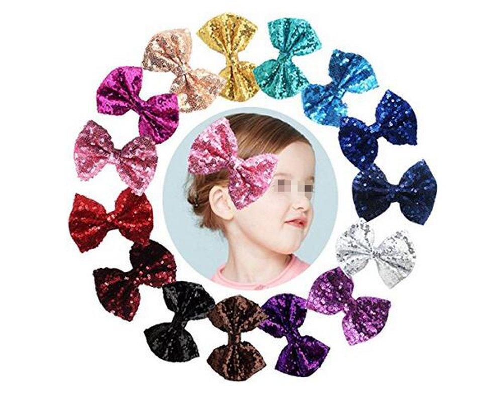 Glitter Bow Hair Clip, Pack of 6 Bling Glitter Sequin Hair Bows with Hair Clips for Girls Toddlers Kids Women Accessories(Color Random) erioctry