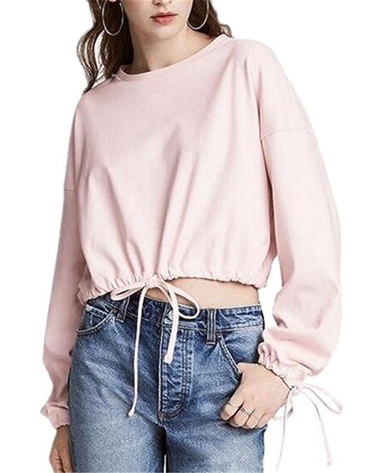 Tayaho Sudadera Manga Larga Mujer Tops Color Sólido Casual Blusas Hipster T-Shirts con Cuerda