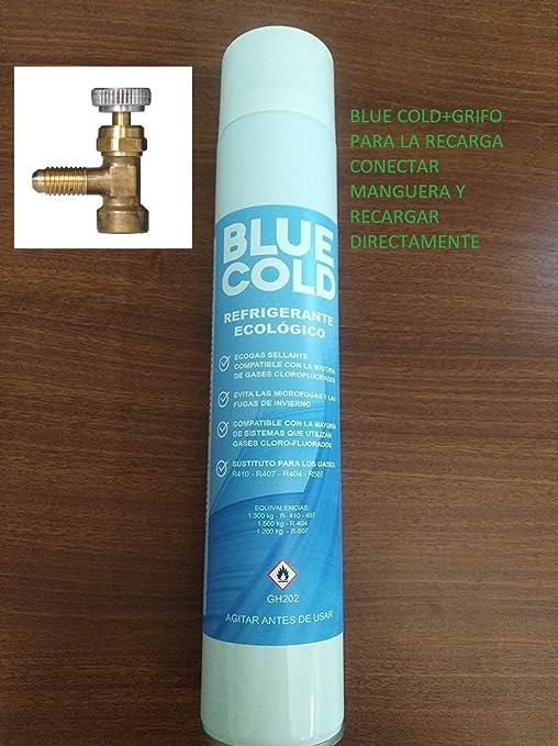 REPUESTOELECTRO- Blue Cold+Grifo Gas para la Recarga de Sistemas de Aire Acondicionado.