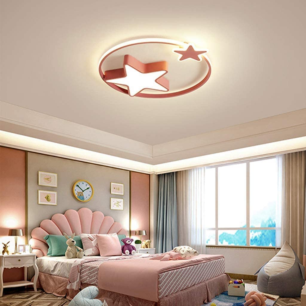 LED Ceiling Lamp,Children's Room Starry Lamp, Dimmable with Remote Control Bedroom Lights Living Room Children's Lamp (Color : White 55cm) Pink 45cm