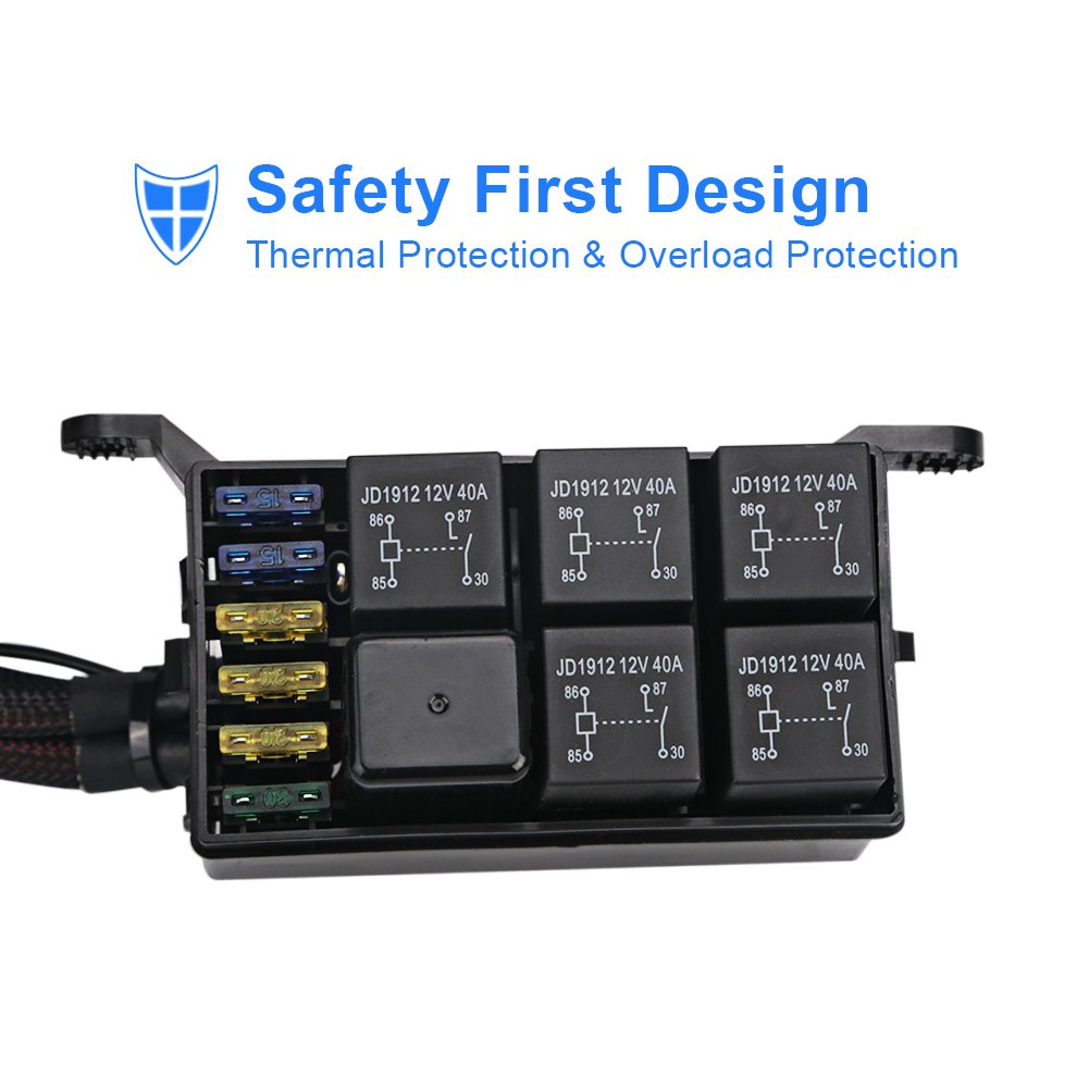 Waterwich 6 Gang Switch Panel Electronic Relay System Circuit Universal Wiring Harness Truck Control Box Waterproof Fuse Assemblies For Car Auto Boat Marine
