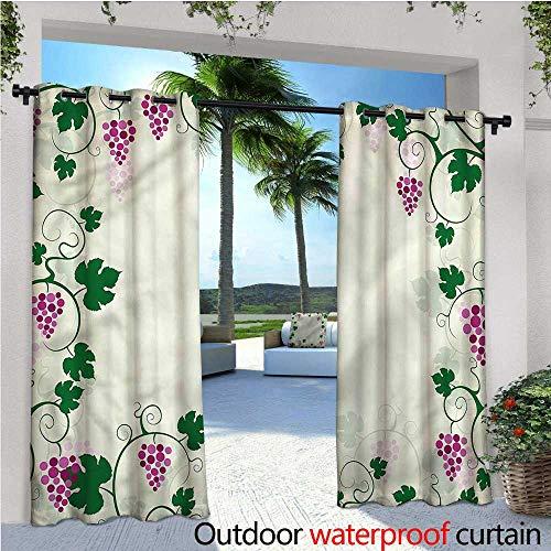 Nature Indoor/Outdoor Single Panel Print Window Curtain Grape Vines Fruit Garden Silver Grommet Top Drape W96 x L108