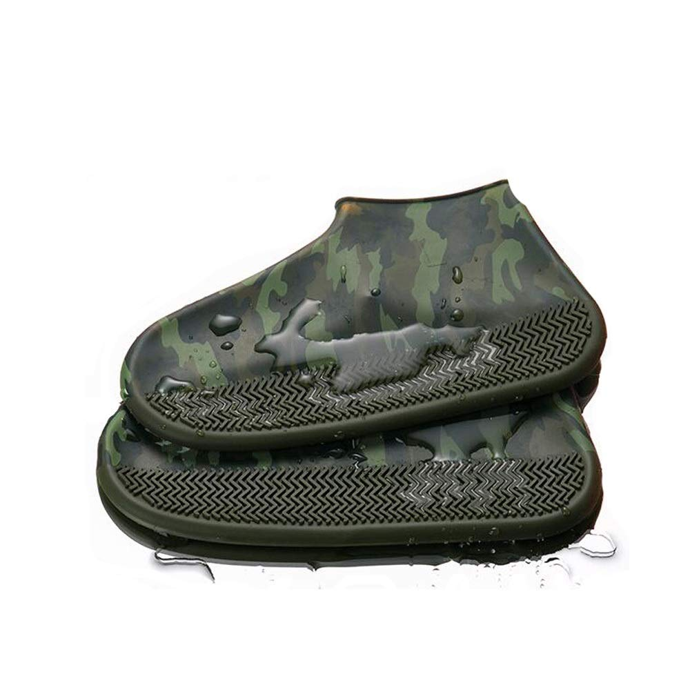 WUZHONGDIAN Shoe Cover, Made of Environmentally Friendly Silicone Material, Rainproof Non-Slip Thick Wear-Resistant Shoe Cover, Reusable Shoe Cover (Color : Camouflage, Size : L) by WUZHONGDIAN