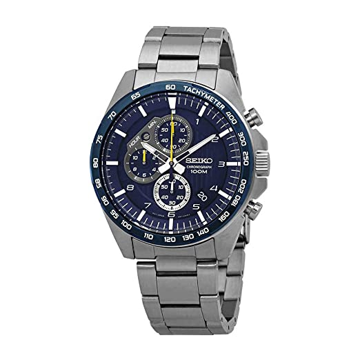 Steel With Mens Quartz Watch Chronograph Strap Seiko Stainless 9YDWeE2IH