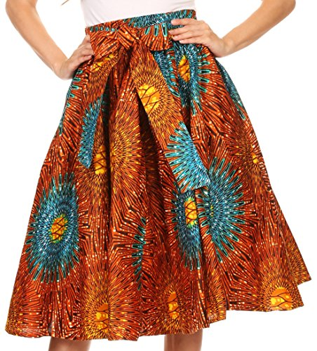 Sakkas 16321 - Celine African Dutch Ankara Wax Print Full Circle Skirt - 1134-OrangeTeal - OS Circle Print Dress