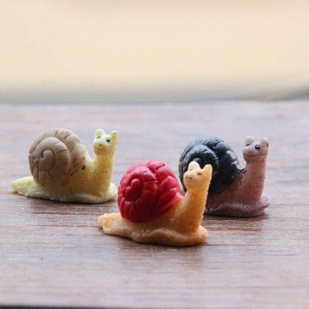 Romote Direct Caracol Estatuilla En Miniatura Estatua Decoraci/ón Mini Fairy Garden Micro Paisaje De Dibujos Animados De Animales Arte De La Resina 3 Piezas