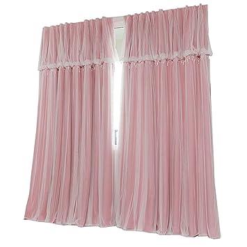 Nclon Licht Blockiert Vorhänge Gardinen,Reine Farbe Prinzessin Schlafzimmer  Spitze Voile Vorhänge Gardinen UV Schutz
