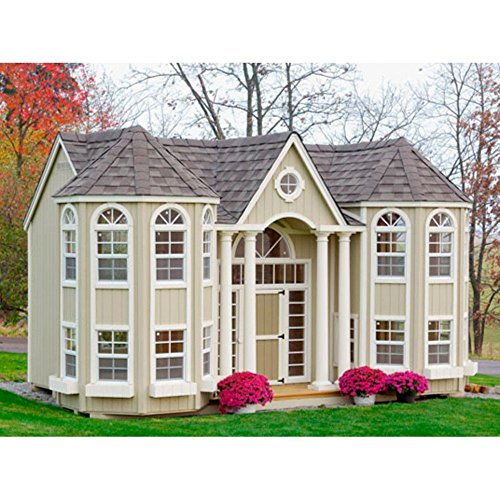 Little Cottage 10 x 16 Grand Portico Mansion Wood Playhouse (Mansion Outdoor Playhouse)