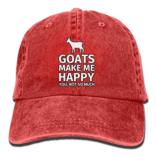 Unisex Washed Retro Denim Hats Adjustable Baseball Cap Goats Make Me Happy Classic Dad Hat Stetson Hat
