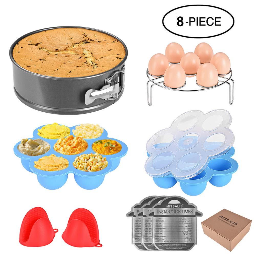 Missalis Instant Pot Accessories Set-Fits 5,6,8Qt Instant pot Pressure Cooker,8 Pcs with Egg Steamer Rack, Non-stick Springform Pan, Egg Bites Molds, Silicone Cooking Pot Mitt, Cheat Sheet