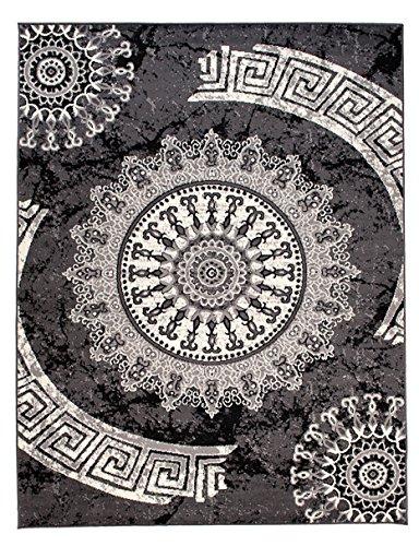 Carpeto Designer Teppich Modern Medalion Mandala Meliert in Grau Dunkelgrau Dunkelgrau Dunkelgrau - ÖKO Tex (180 x 250 cm) d01819