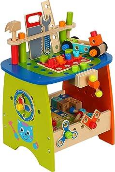 Yavso Werkbank Kinder Holz 90 Stuck Kinderwerkbank Aus Holz Mit Werkzeug Zubehor Rollenspiele Spielzeugwerkbank Fur Kinder Amazon De Spielzeug