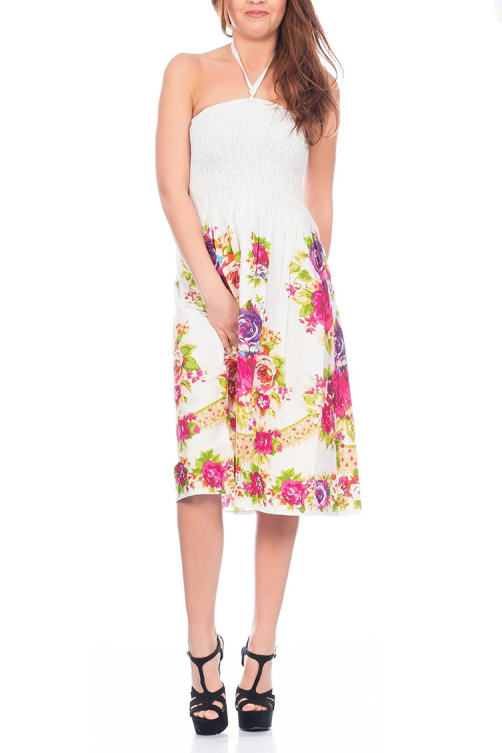 Ladies Floral Paisley Print 3 in 1 Summer Dress/Maxi Skirt, Purple or Pink Small Dannii Matthews