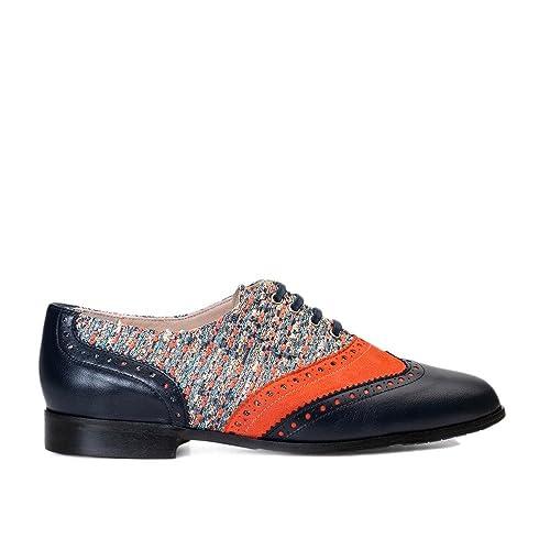 GENNIA Dakota Marino Naranja - Mocasines para Mujer de Cuero y con Mini Tacón de 1 cm: Amazon.es: Zapatos y complementos