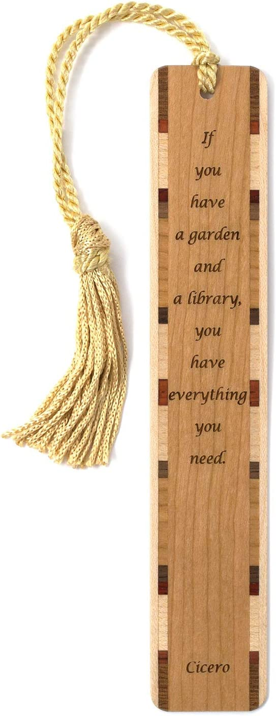 Cicero Quote A Library and Garden Engraved Wooden Bookmark with Tassel - Search B07QY3CGV3 to See Personalized Version