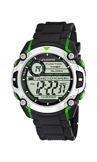 Calypso watches - Reloj digital de cuarzo para niño con correa de caucho, color negro: Amazon.es: Relojes