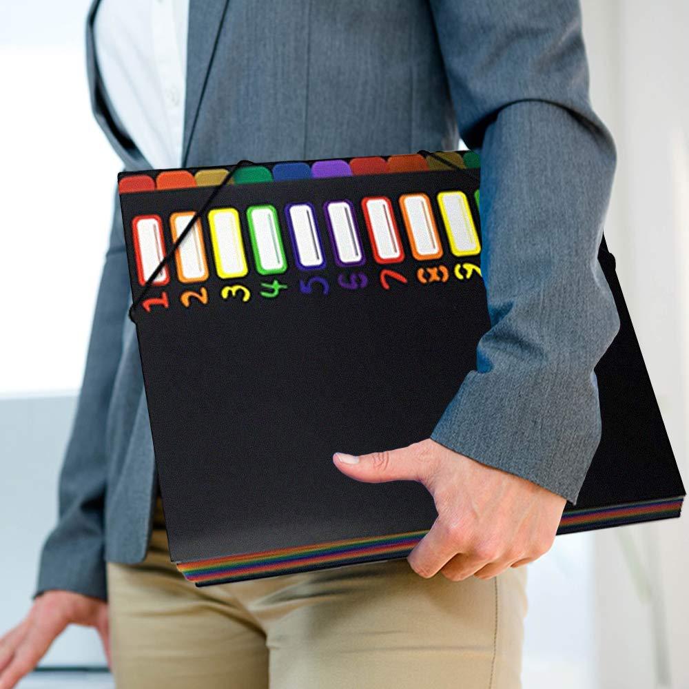 Meowoo Trieur A4 Document 12 compartiments color/és avec Indexation Num/érique en Plastique Pochette Extensible pour Classer et Transporter des Documents