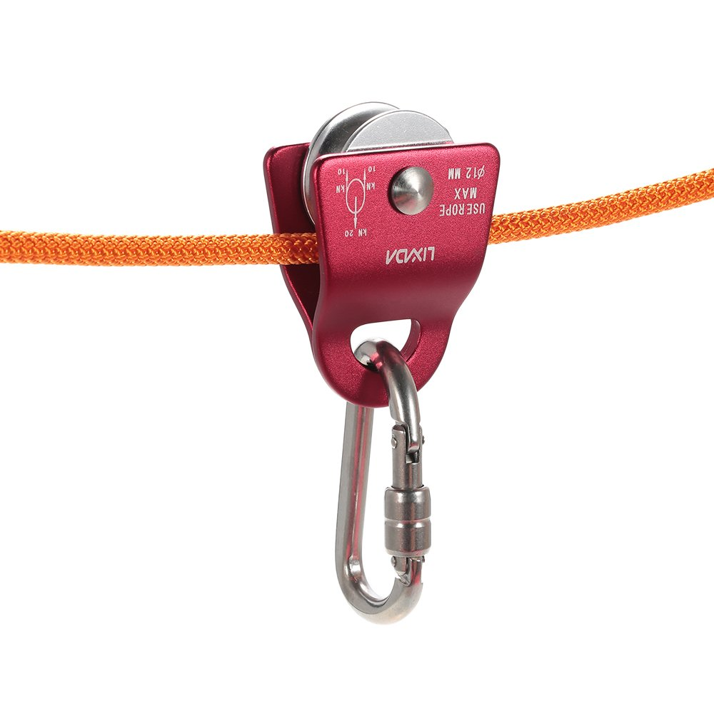 Lixada 20kN Bearing Mobile Micro Pulley Max Rope 1/2in for Rigging Arborist Climbing