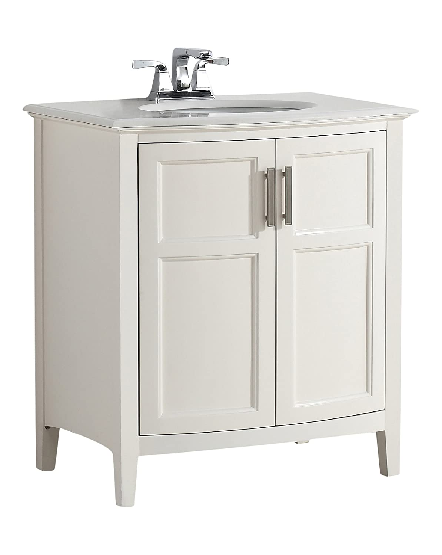 30 Bathroom Vanity With Top. Simpli Home Winston 30 Bath Vanity Rounded Front With Quartz Marble Top Soft White Amazon Com