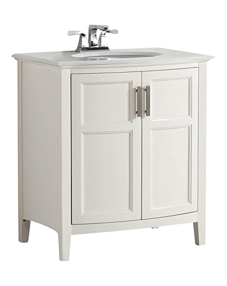 Simpli Home Winston 30u0026quot; Bath Vanity Rounded Front With Quartz Marble  Top, Soft White