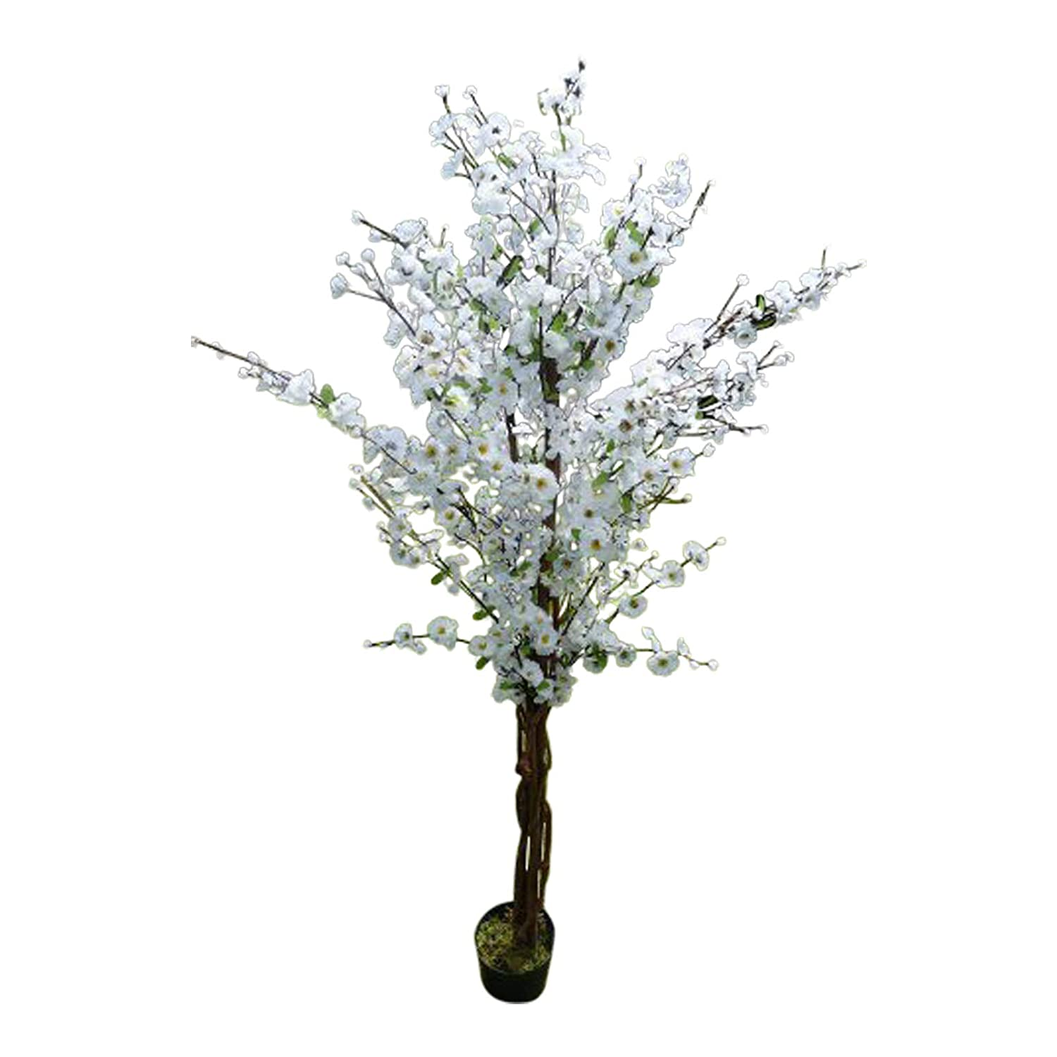 5' Artificial Tree - White Artificial Blossom Tree - 1.7m Artificial Plant In A Pot HomeAndGarden.UK