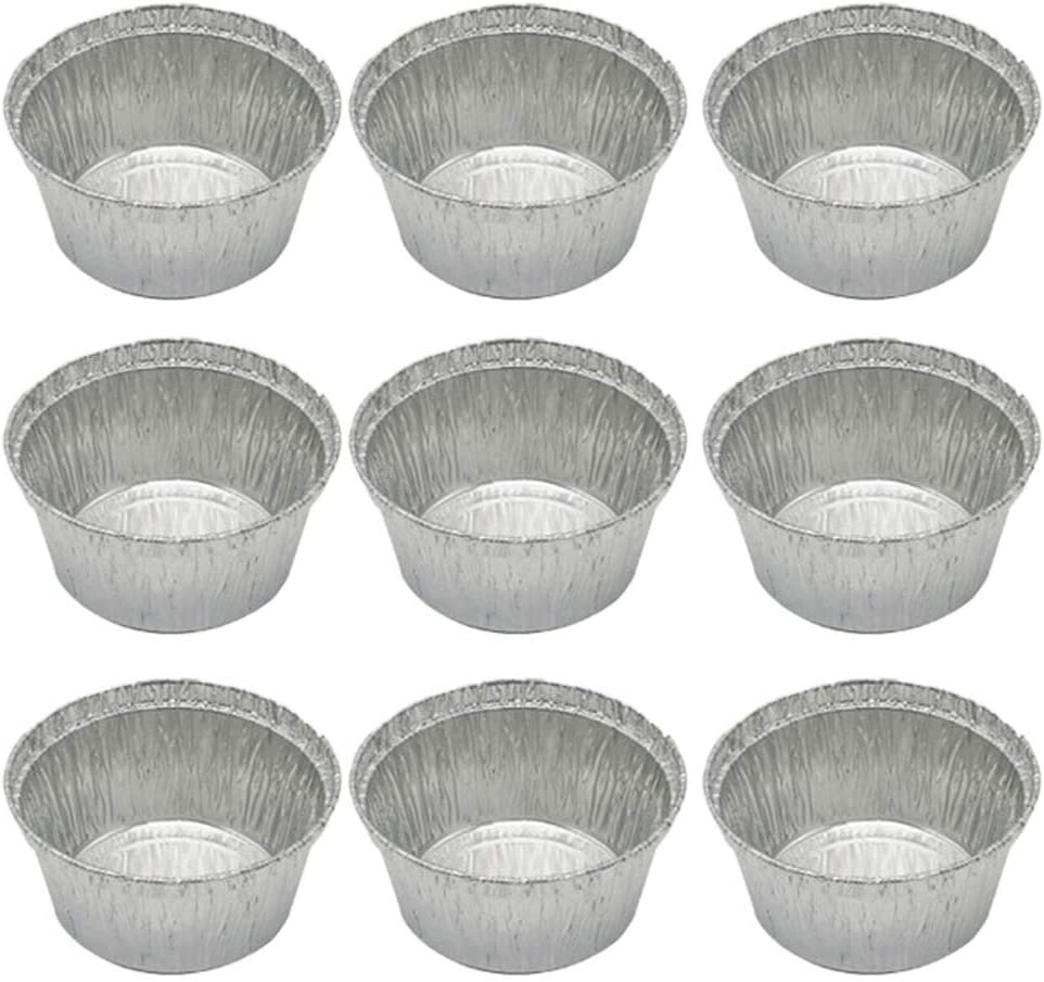 50 Pcs 120ML Tin Foil Bowls Aluminum Foil Round Disposable BBQ Tray Pie Pans for Homemade Cakes Pies -8x3.7cm (Without Lid)