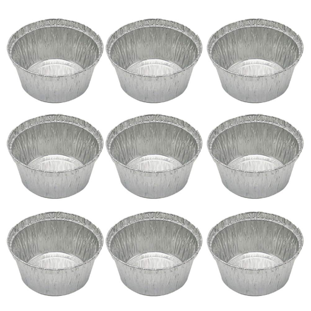 50 Pcs 120ML Tin Foil Bowls Aluminum Foil Round Disposable BBQ Tray Pie Pans for Homemade Cakes Pies -8x3.7cm (Without Lid) by BESTONZON