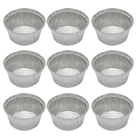 BESTONZON 50 piezas desechables de aluminio Tarta de tarta Pands sartenes para hornear redondas para hornear