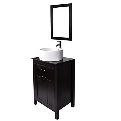 ELECWISH Bathroom Vanity Stand Sink Combo 24 Inches Cabinet With Mirror And  Round 18.5u0026quot;D
