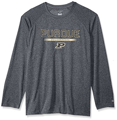 Champion NCAA Purdue Boilermakers Men's Team Core Long Sleeve Tee, Charcoal Heather, X-Large