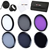 55MM Lens Filters,K&F Concept® 55mm 6pcs Filter Kit UV Protector Circular Polarizing Filter Neutral Density Filter (UV+CPL+FLD,ND2+ND4+ND8) + Microfiber Lens Cleaning Cloth + Petal Lens Hood + Center Pinch Lens Cap + Filter Bag Pouch