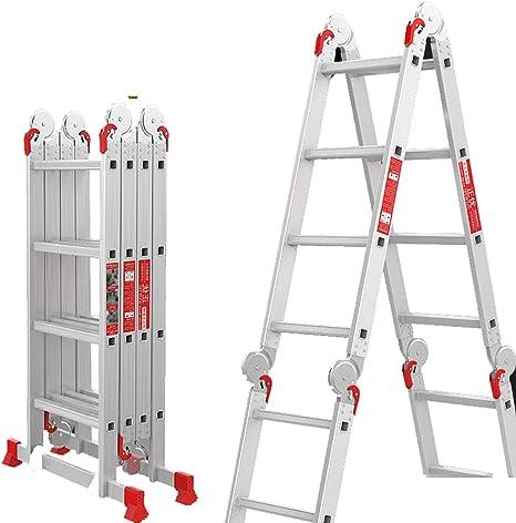 QinnLiuu Ex-Large Heavy Duty Gaint Escalera Plegable de Aluminio multipropósito Escaleras de andamio con 2 Placas de Plataforma Libre- 330Lbs: Amazon.es: Deportes y aire libre