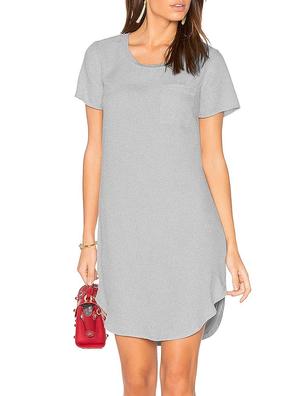 c1763df684fd Top1  ALLY-MAGIC Women s Tunic Casual Plain Simple Short Sleeve T-Shirt  Dress