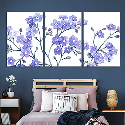 3 Panel Small Purple Flowers on White Background x 3 Panels
