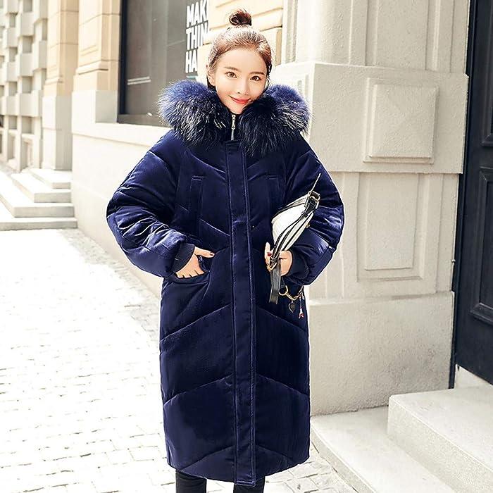 Abrigo para Las Mujeres, Moda para Mujer Prendas de Vestir Exteriores de Piel con Capucha Abrigo Largo de algodón Acolchado Chaquetas Abrigos de Bolsillo ...