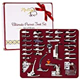 MadamSew Presser Foot Set 32 PCS - The ONLY One with Manual and Deluxe Storage Case with Numbered Slots for Easy and Neat Organization