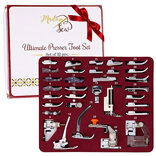 5 Piece Foot (MadamSew Presser Foot Set 32 PCS - The ONLY One with Manual and Deluxe Storage Case with Numbered Slots for Easy and Neat Organization)