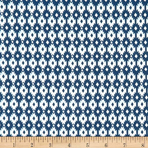 Monaluna Organic Poplin Journey Aztec Diamond Fabric, Blue/White, Fabric By The Yard from Monaluna