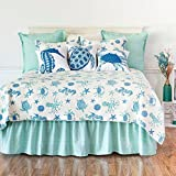 3 Piece Underwater Sea Creatures Pattern Quilt Set Full/Queen Size, Printed Coastal Turtles Octopus Starfish Crabs Seahorse Sand Dollar Bedding, Nautical Oceanic Motif, Chic Animals Theme, Blue, Ivory