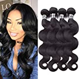 Star Show Hair Grade 7A Malaysian Virgin Hair Body Wave 4 Bundles 100% Unprocessed Human Hair Weave Natural Black Can be Dyed and Styled (100+/-5g)/bundle (26 26 28 28 inch)