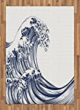 Japanese Wave Area Rug by Ambesonne, Oriental Vintage Great Wave Monochrome Kanagawa Inspired Antique Art, Flat Woven Accent Rug for Living Room Bedroom Dining Room, 5.2 x 7.5 FT, Black and White
