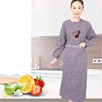 Chunjiao Anti-sleeved aprons cotton plaid dress embroidered gowns kitchen kitty clothes apron