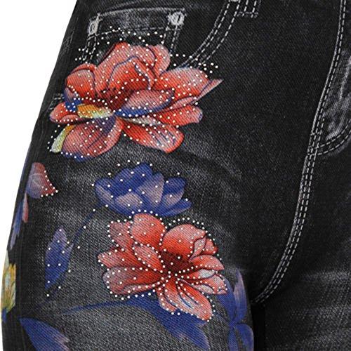 Jeans Automne Strass Slim Leggings Stretch laamei Printemps Femme Rtro Noir Brod Collant Pantalon Taille pour Fleur Haute qYUC40w