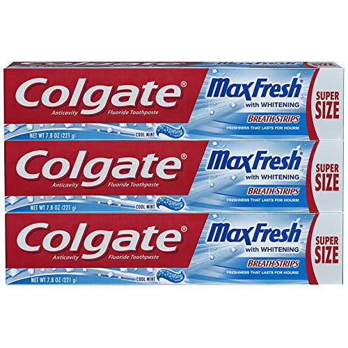 Colgate Max Fresh Toothpaste with Breath Strips- Cool Mint – 7.8 ounce (3 Pack)