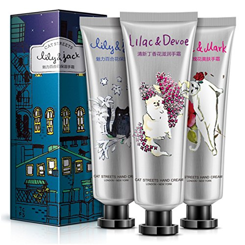 Hand Cream Set, BIOAQUA Moisturizing Hand Lotion for Dry and Rough Hands, Enriched with Shea Butter and Glycerin, Pack of 3 Travel Size for Women (3 x 1.0 Ounce)