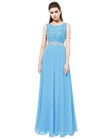 Dresstells Damen Lace Chiffon Bodenlang Abendkleid Glitzer Ballkleid  Abiballkleider Brautjungferkleid Blau Größe 32