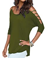 Viishow Women's Casual Loose Hollowed Out Shoulder Three Quarter Sleeve Shirts